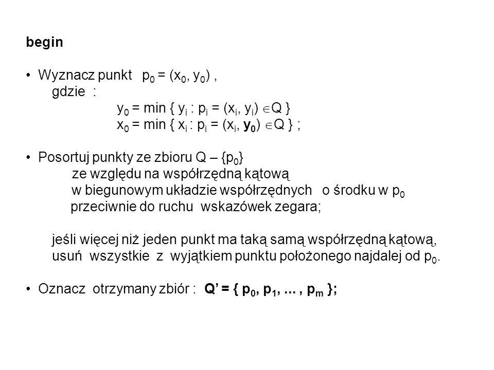 begin Wyznacz punkt p 0 = (x 0, y 0 ), gdzie : y 0 = min { y i : p i = (x i, y i ) Q } x 0 = min { x i : p i = (x i, y 0 ) Q } ; Posortuj punkty ze zb