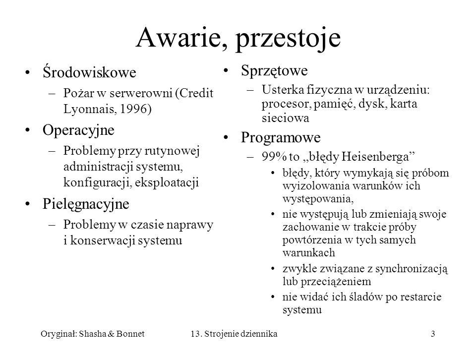 Oryginał: Shasha & Bonnet313. Strojenie dziennika Awarie, przestoje Środowiskowe –Pożar w serwerowni (Credit Lyonnais, 1996) Operacyjne –Problemy przy