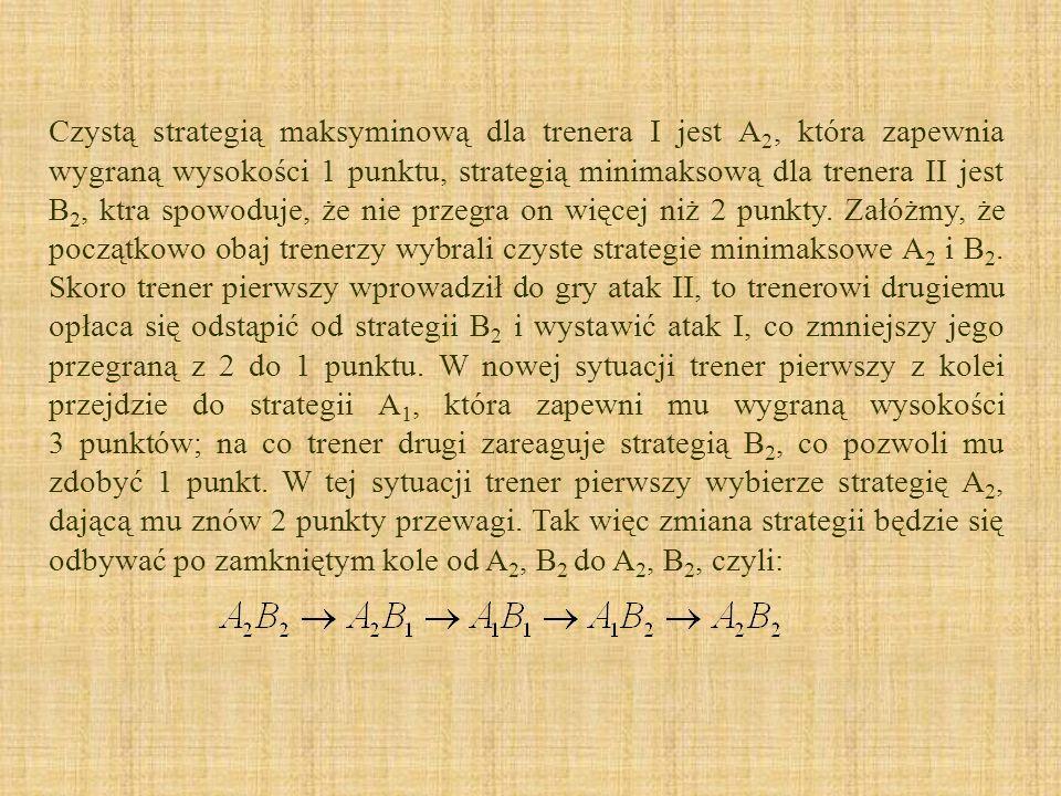 Czystą strategią maksyminową dla trenera I jest A 2, która zapewnia wygraną wysokości 1 punktu, strategią minimaksową dla trenera II jest B 2, ktra sp