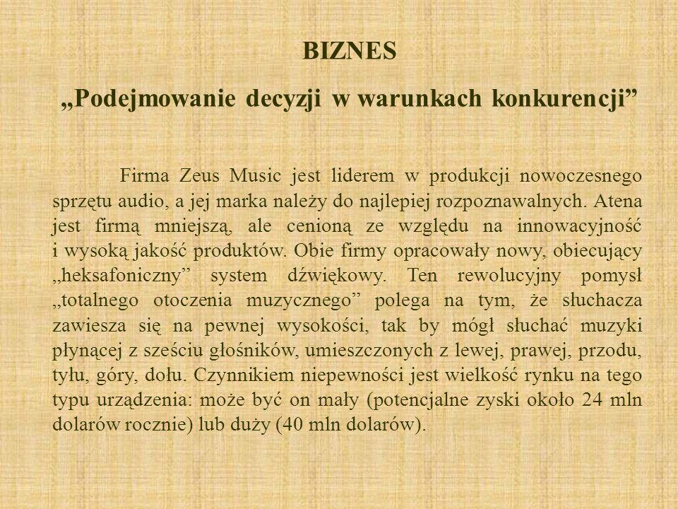 BIZNES Podejmowanie decyzji w warunkach konkurencji Firma Zeus Music jest liderem w produkcji nowoczesnego sprzętu audio, a jej marka należy do najlep