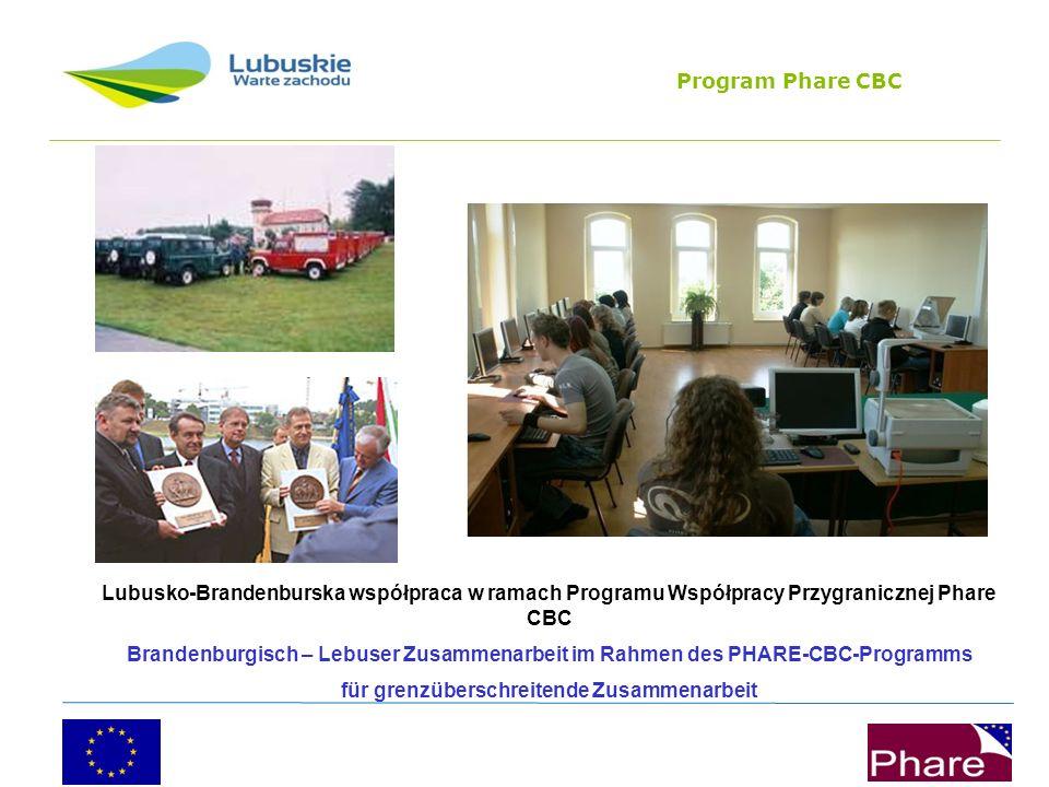 Program Phare CBC Lubusko-Brandenburska współpraca w ramach Programu Współpracy Przygranicznej Phare CBC Brandenburgisch – Lebuser Zusammenarbeit im Rahmen des PHARE-CBC-Programms für grenzüberschreitende Zusammenarbeit