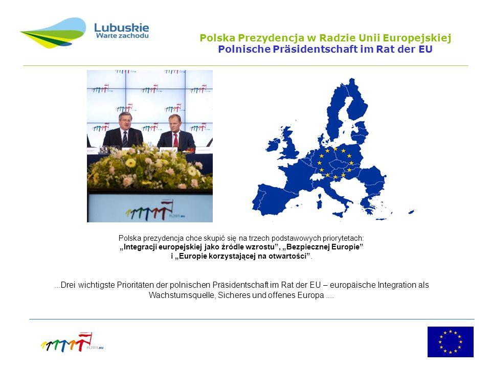 Polska Prezydencja w Radzie Unii Europejskiej Polnische Präsidentschaft im Rat der EU Polska prezydencja chce skupić się na trzech podstawowych priorytetach: Integracji europejskiej jako źródle wzrostu, Bezpiecznej Europie i Europie korzystającej na otwartości....Drei wichtigste Prioritäten der polnischen Präsidentschaft im Rat der EU – europäische Integration als Wachstumsquelle, Sicheres und offenes Europa....