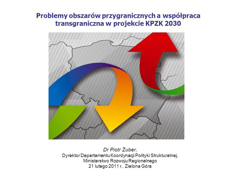 12 Obszary przygraniczne Zadaniem polityki przestrzennego zagospodarowania kraju jest wspomaganie procesu integracji obszarów przygranicznych z głównymi obszarami aktywności gospodarczej dzięki zapewnianiu rozwoju powiązań funkcjonalnych po obu stronach granicy Dla rozwiązania problemów obszarów przygranicznych potrzebne są działania zintegrowane na każdym poziomie planowania, uwzględniające narzędzia polityki regionalnej i przestrzennej.
