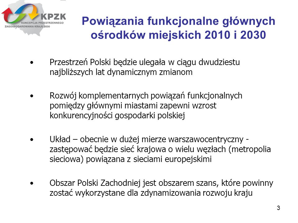 3 Przestrzeń Polski będzie ulegała w ciągu dwudziestu najbliższych lat dynamicznym zmianom Rozwój komplementarnych powiązań funkcjonalnych pomiędzy gł