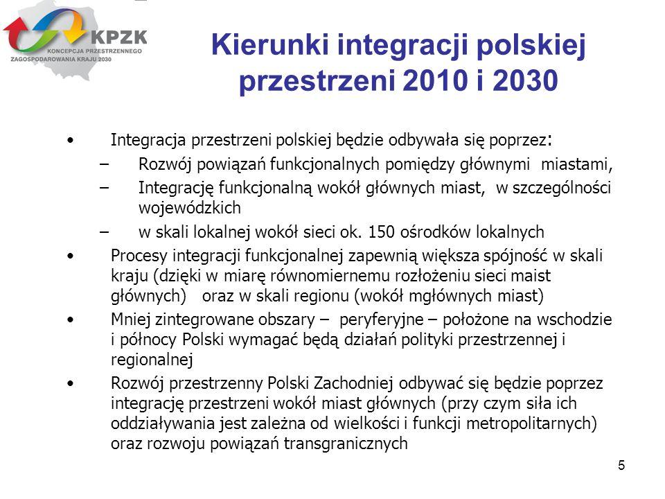 5 Integracja przestrzeni polskiej będzie odbywała się poprzez : –Rozwój powiązań funkcjonalnych pomiędzy głównymi miastami, –Integrację funkcjonalną w