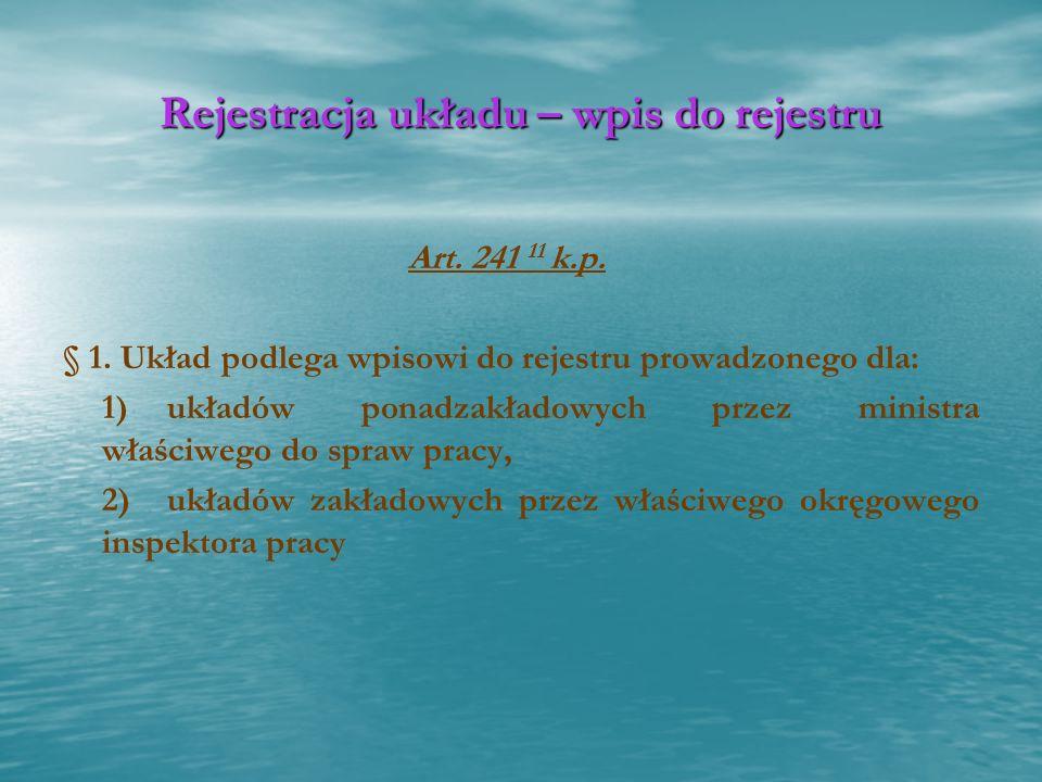 Rejestracja układu – wpis do rejestru Art. 241 11 k.p. § 1. Układ podlega wpisowi do rejestru prowadzonego dla: 1)układów ponadzakładowych przez minis