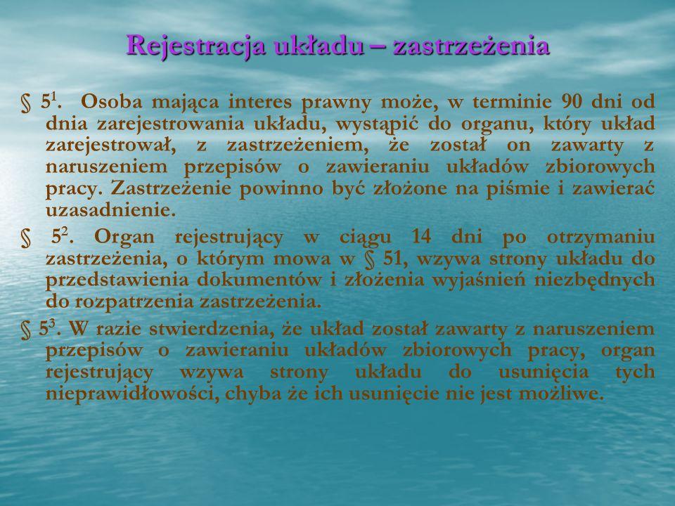Rejestracja układu – zastrzeżenia § 5 1. Osoba mająca interes prawny może, w terminie 90 dni od dnia zarejestrowania układu, wystąpić do organu, który
