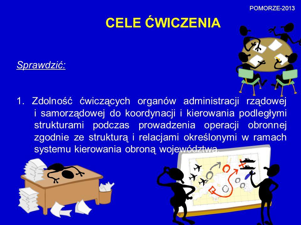 CELE ĆWICZENIA Sprawdzić: 1. Zdolność ćwiczących organów administracji rządowej i samorządowej do koordynacji i kierowania podległymi strukturami podc