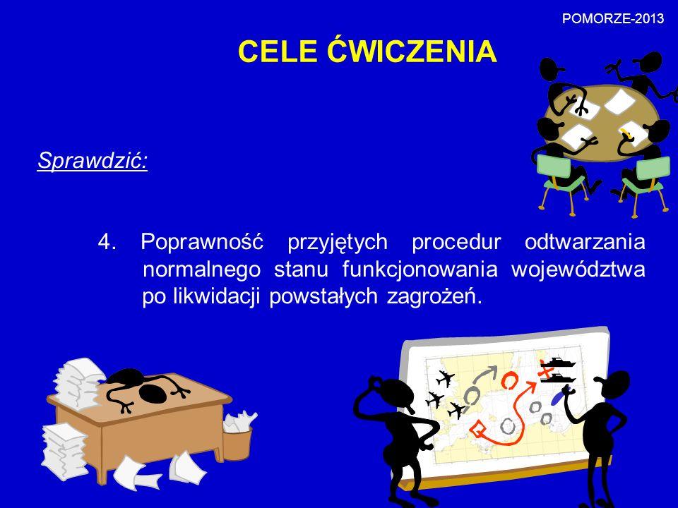 CELE ĆWICZENIA Sprawdzić: 4. Poprawność przyjętych procedur odtwarzania normalnego stanu funkcjonowania województwa po likwidacji powstałych zagrożeń.