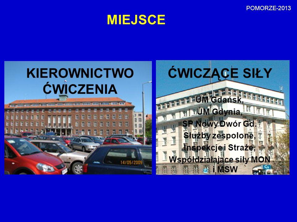 MIEJSCE MSD ĆWICZĄCE SIŁY UM Gdańsk, UM Gdynia, SP Nowy Dwór Gd. Służby zespolone, Inspekcje i Straże, Współdziałające siły MON i MSW KIEROWNICTWO ĆWI
