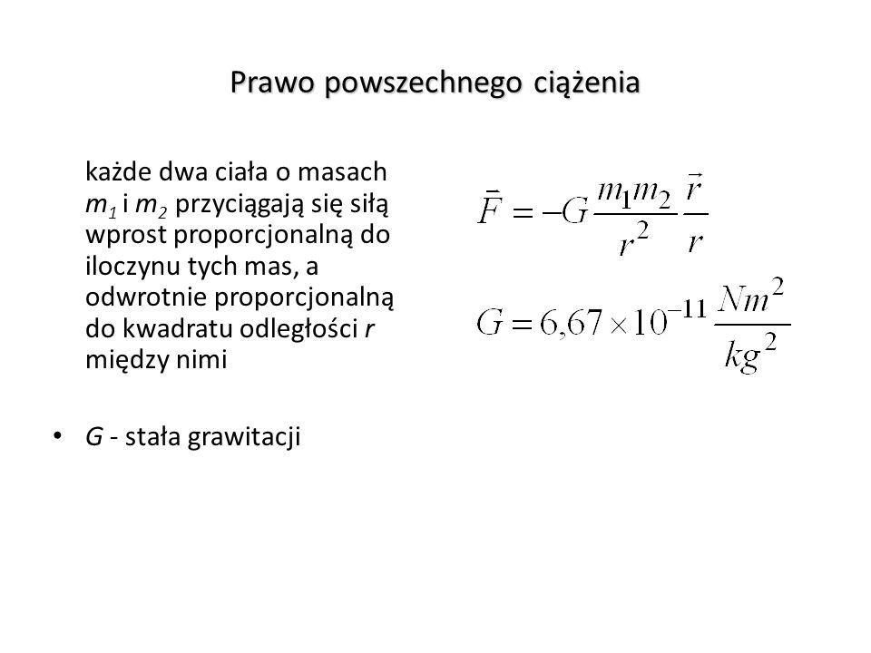 Prawo powszechnego ciążenia każde dwa ciała o masach m 1 i m 2 przyciągają się siłą wprost proporcjonalną do iloczynu tych mas, a odwrotnie proporcjon