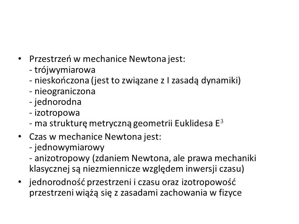 Przestrzeń w mechanice Newtona jest: - trójwymiarowa - nieskończona (jest to związane z I zasadą dynamiki) - nieograniczona - jednorodna - izotropowa