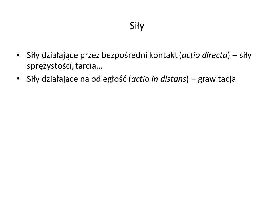 Siły Siły działające przez bezpośredni kontakt (actio directa) – siły sprężystości, tarcia… Siły działające na odległość (actio in distans) – grawitac