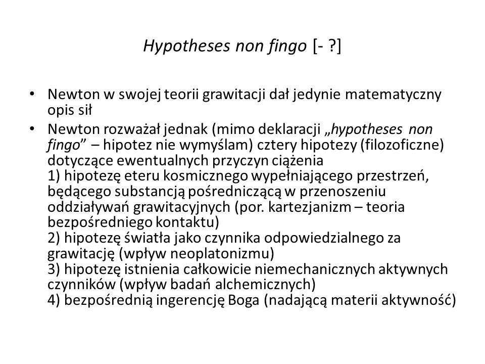 Hypotheses non fingo [- ?] Newton w swojej teorii grawitacji dał jedynie matematyczny opis sił Newton rozważał jednak (mimo deklaracji hypotheses non