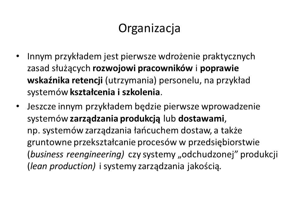Organizacja Innym przykładem jest pierwsze wdrożenie praktycznych zasad służących rozwojowi pracowników i poprawie wskaźnika retencji (utrzymania) per