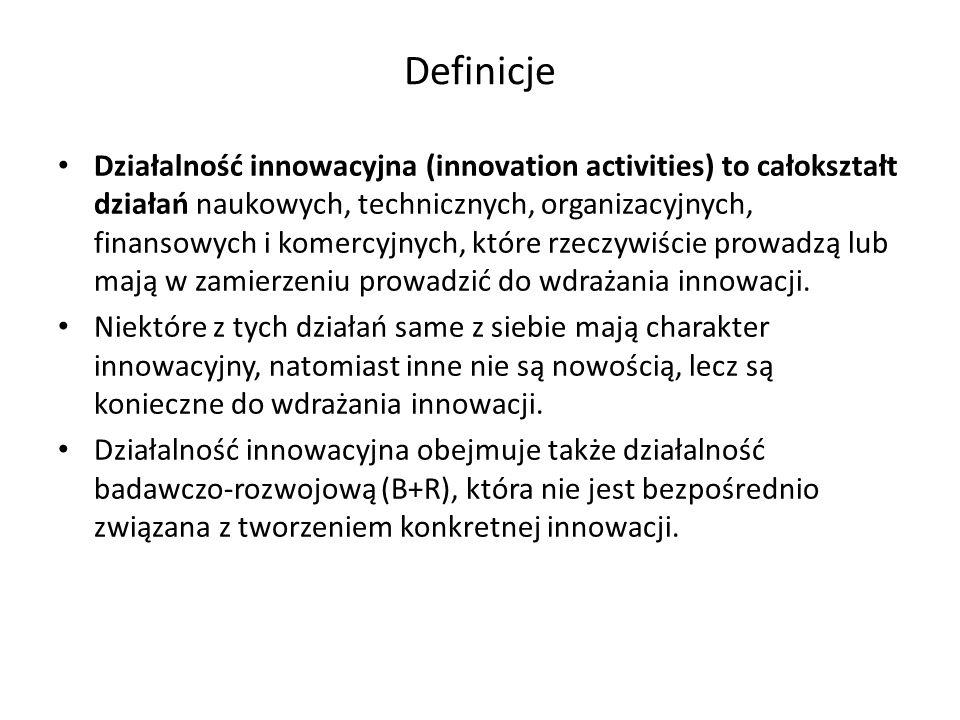 Definicje Działalność innowacyjna (innovation activities) to całokształt działań naukowych, technicznych, organizacyjnych, finansowych i komercyjnych,