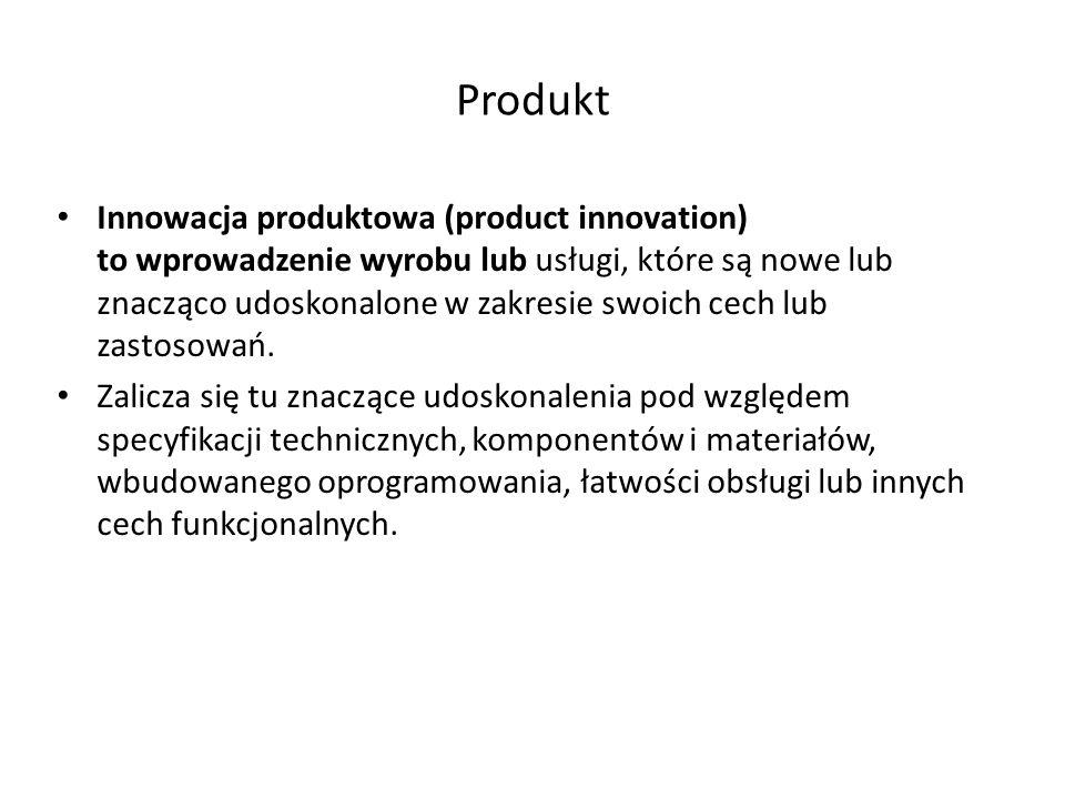 Proces - technologia Innowacja procesowe (process innovation) czyli innowacja w obrębie procesu to wdrożenie nowej lub znacząco udoskonalonej metody produkcji lub dostawy.