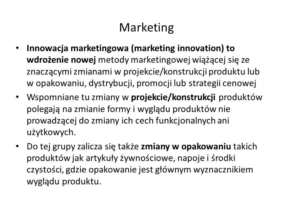 Marketing Innowacja marketingowa (marketing innovation) to wdrożenie nowej metody marketingowej wiążącej się ze znaczącymi zmianami w projekcie/konstr