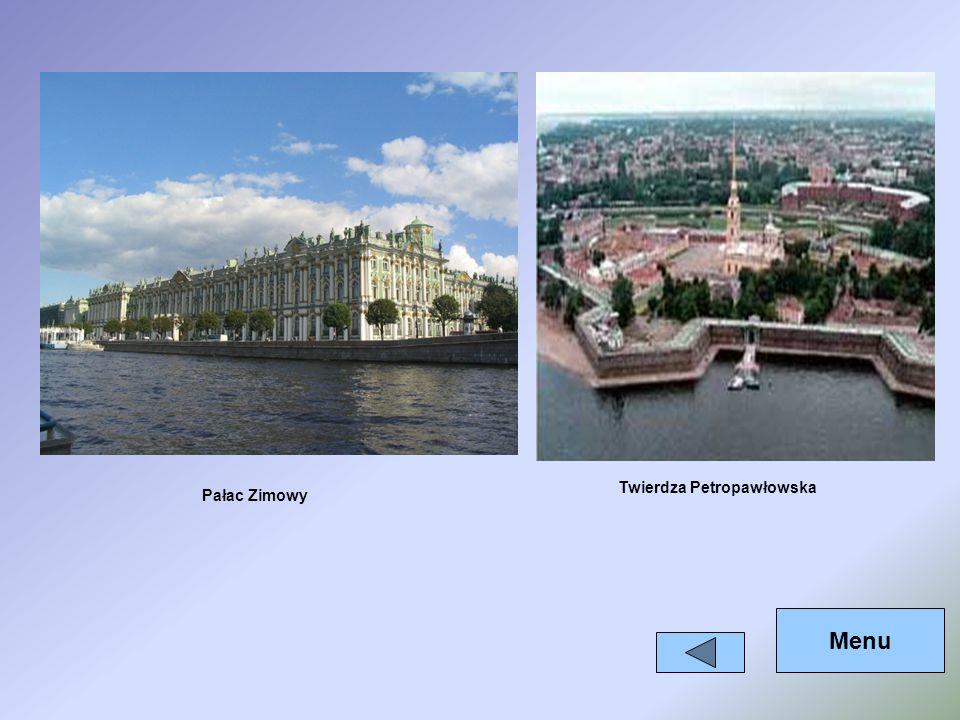 Pałac Zimowy Twierdza Petropawłowska Menu