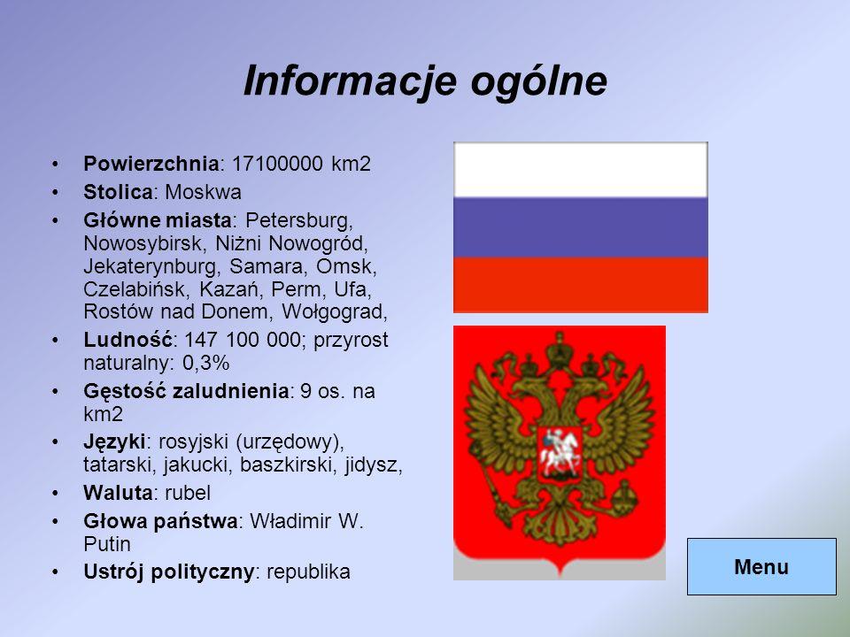 Informacje ogólne Powierzchnia: 17100000 km2 Stolica: Moskwa Główne miasta: Petersburg, Nowosybirsk, Niżni Nowogród, Jekaterynburg, Samara, Omsk, Czel
