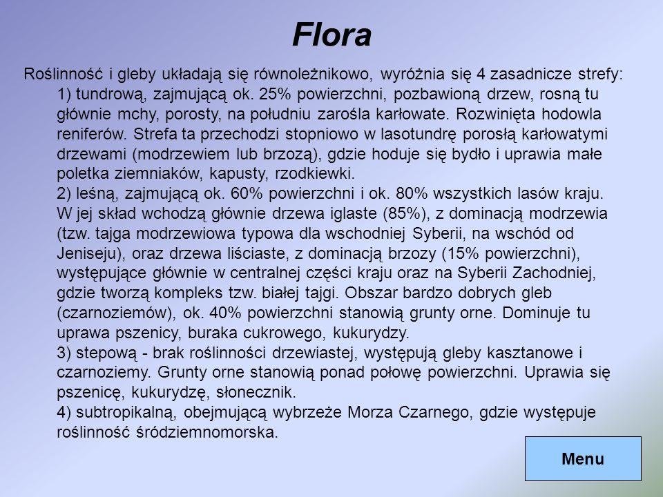 Flora Menu Roślinność i gleby układają się równoleżnikowo, wyróżnia się 4 zasadnicze strefy: 1) tundrową, zajmującą ok. 25% powierzchni, pozbawioną dr