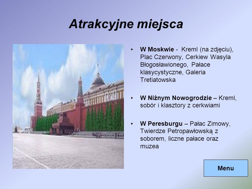 Atrakcyjne miejsca W Moskwie - Kreml (na zdjęciu), Plac Czerwony, Cerkiew Wasyla Błogosławionego, Pałace klasycystyczne, Galeria Tretiatowska W Niżnym