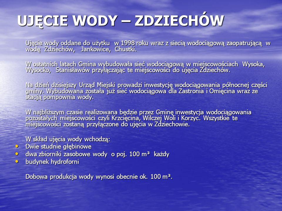 UJĘCIE WODY – ZDZIECHÓW Ujęcie wody oddane do użytku w 1998 roku wraz z siecią wodociągową zaopatrującą w wodę Zdziechów, Jankowice, Chustki. W ostatn