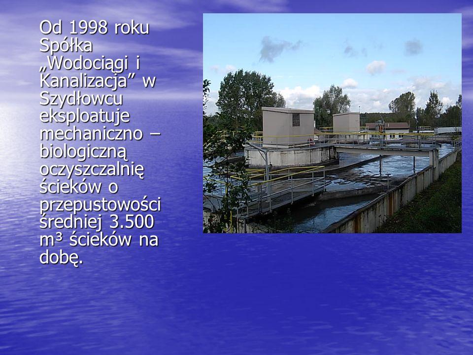 Od 1998 roku Spółka Wodociągi i Kanalizacja w Szydłowcu eksploatuje mechaniczno – biologiczną oczyszczalnię ścieków o przepustowości średniej 3.500 m³