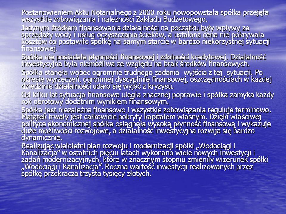 Postanowieniem Aktu Notarialnego z 2000 roku nowopowstała spółka przejęła wszystkie zobowiązania i należności Zakładu Budżetowego. Jedynym źródłem fin