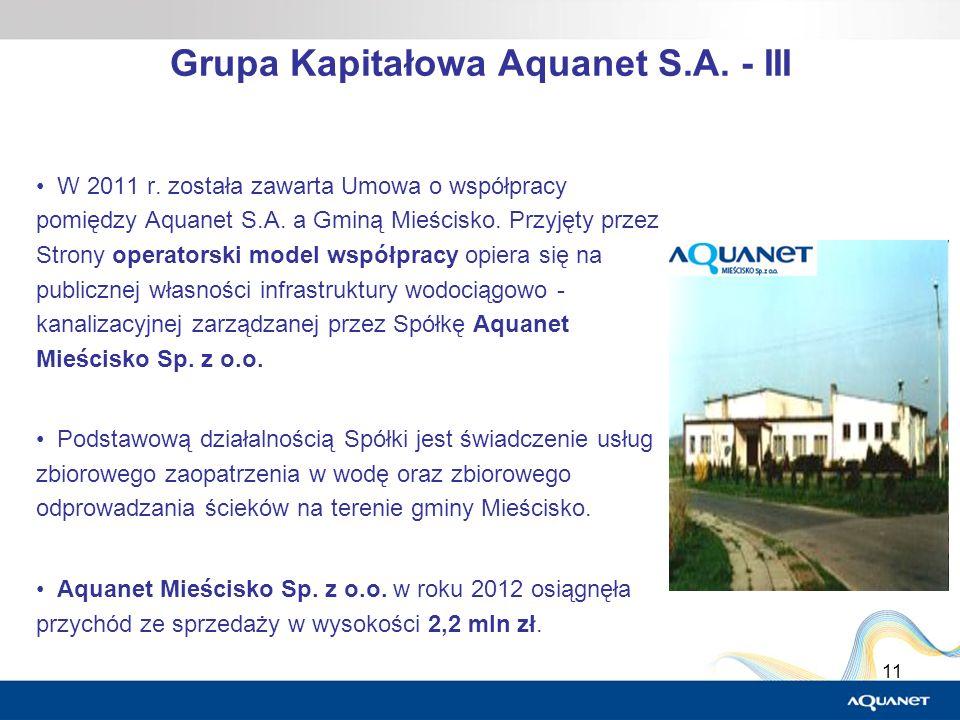 11 Grupa Kapitałowa Aquanet S.A. - III W 2011 r. została zawarta Umowa o współpracy pomiędzy Aquanet S.A. a Gminą Mieścisko. Przyjęty przez Strony ope