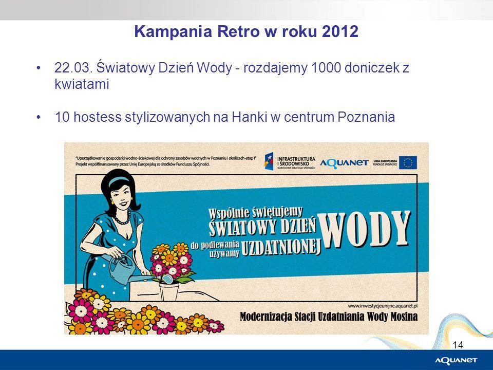 14 22.03. Światowy Dzień Wody - rozdajemy 1000 doniczek z kwiatami 10 hostess stylizowanych na Hanki w centrum Poznania Kampania Retro w roku 2012