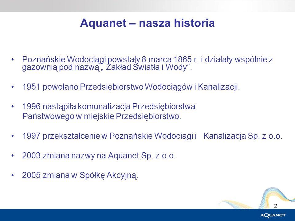 2 Aquanet – nasza historia Poznańskie Wodociągi powstały 8 marca 1865 r. i działały wspólnie z gazownią pod nazwą Zakład Światła i Wody. 1951 powołano