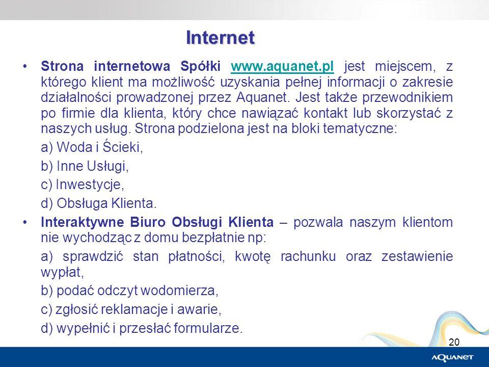 20 Internet Strona internetowa Spółki www.aquanet.pl jest miejscem, z którego klient ma możliwość uzyskania pełnej informacji o zakresie działalności