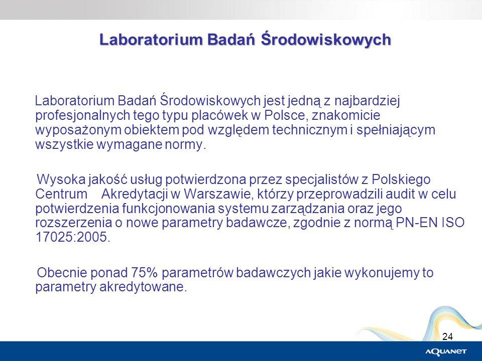 24 Laboratorium Badań Środowiskowych Laboratorium Badań Środowiskowych jest jedną z najbardziej profesjonalnych tego typu placówek w Polsce, znakomici