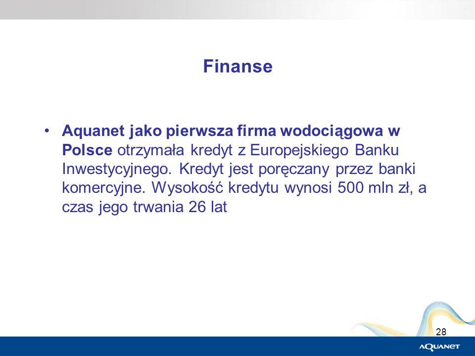 28 Finanse Aquanet jako pierwsza firma wodociągowa w Polsce otrzymała kredyt z Europejskiego Banku Inwestycyjnego. Kredyt jest poręczany przez banki k