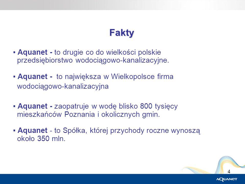4 Fakty Aquanet - to drugie co do wielkości polskie przedsiębiorstwo wodociągowo-kanalizacyjne. Aquanet - to największa w Wielkopolsce firma wodociągo