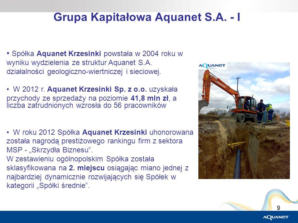 9 Grupa Kapitałowa Aquanet S.A. - I Spółka Aquanet Krzesinki powstała w 2004 roku w wyniku wydzielenia ze struktur Aquanet S.A. działalności geologicz