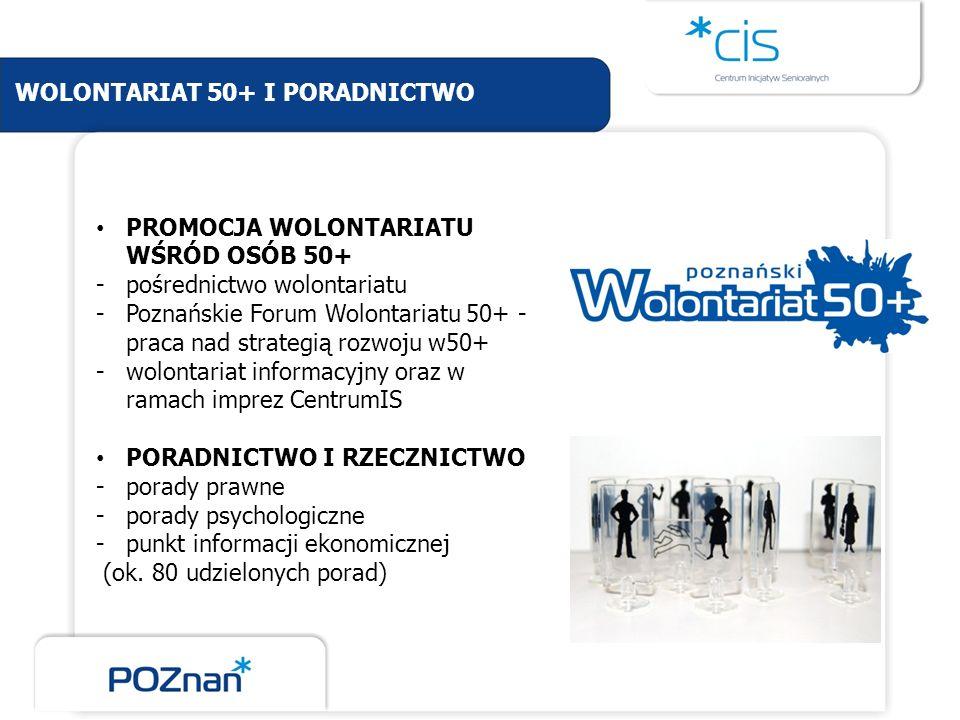 WOLONTARIAT 50+ I PORADNICTWO PROMOCJA WOLONTARIATU WŚRÓD OSÓB 50+ -pośrednictwo wolontariatu -Poznańskie Forum Wolontariatu 50+ - praca nad strategią