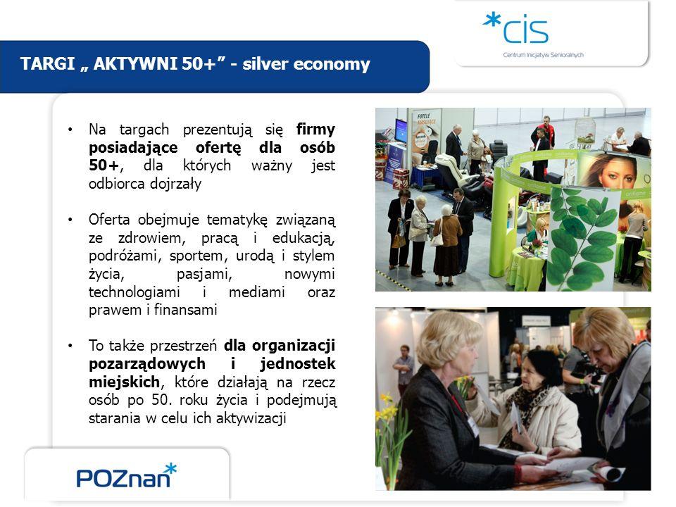 TARGI AKTYWNI 50+ - silver economy Na targach prezentują się firmy posiadające ofertę dla osób 50+, dla których ważny jest odbiorca dojrzały Oferta ob