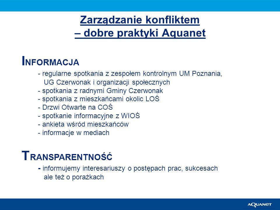 Zarządzanie konfliktem – dobre praktyki Aquanet I NFORMACJA - regularne spotkania z zespołem kontrolnym UM Poznania, UG Czerwonak i organizacji społec