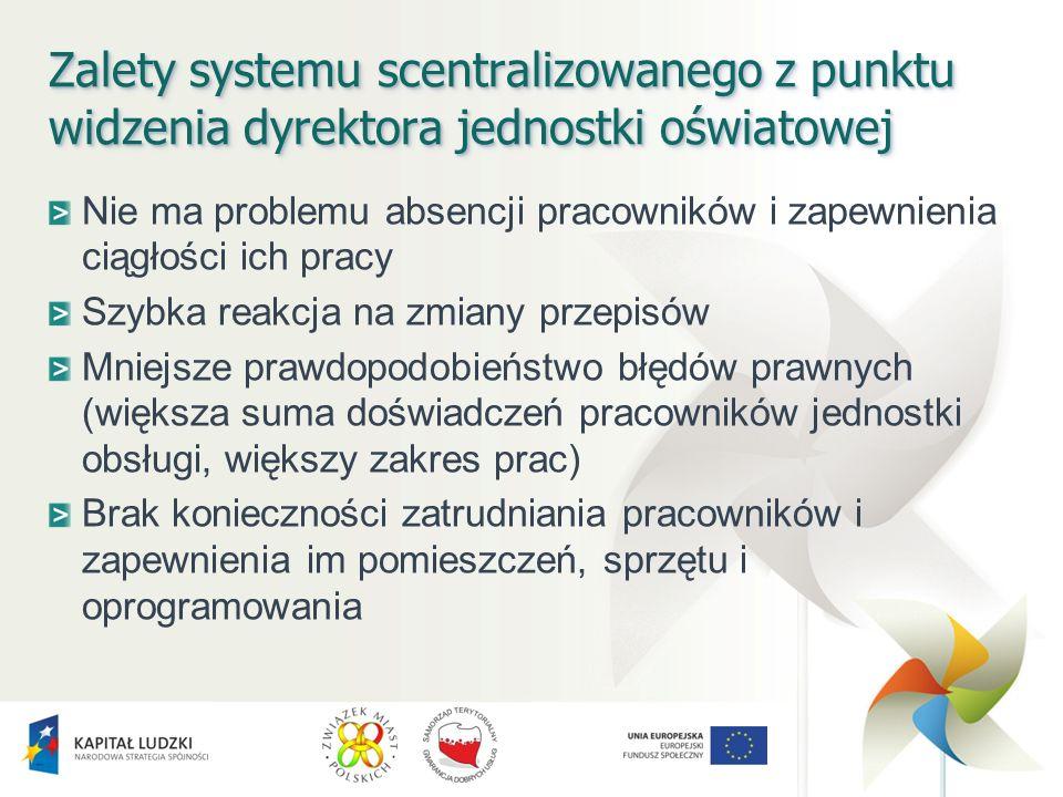Zalety systemu scentralizowanego z punktu widzenia dyrektora jednostki oświatowej Nie ma problemu absencji pracowników i zapewnienia ciągłości ich pra