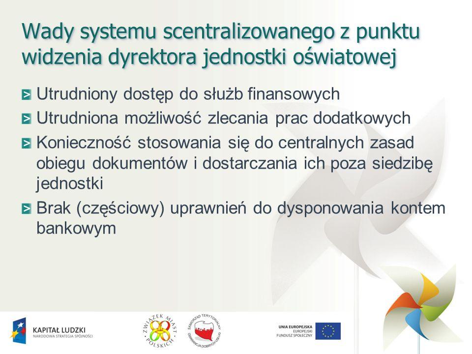 Wady systemu scentralizowanego z punktu widzenia dyrektora jednostki oświatowej Utrudniony dostęp do służb finansowych Utrudniona możliwość zlecania p