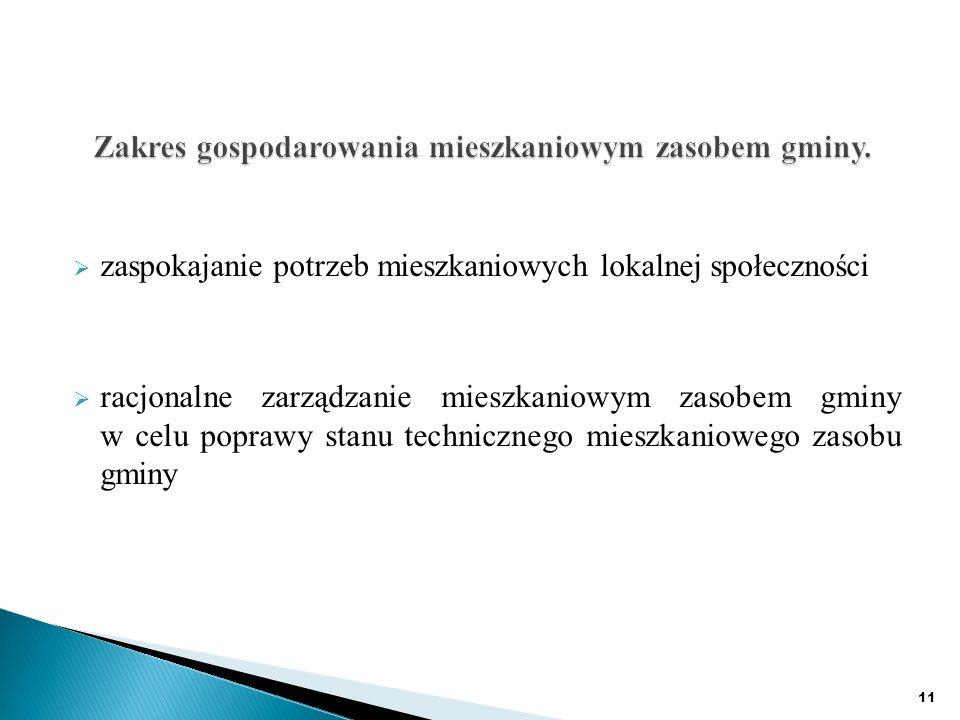 zaspokajanie potrzeb mieszkaniowych lokalnej społeczności racjonalne zarządzanie mieszkaniowym zasobem gminy w celu poprawy stanu technicznego mieszkaniowego zasobu gminy 11