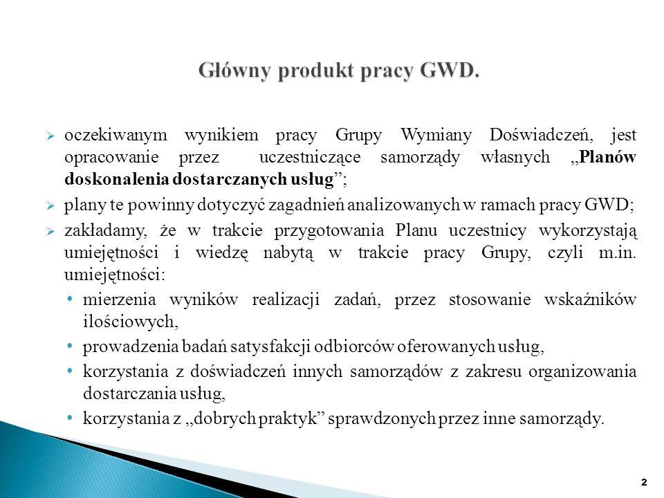 oczekiwanym wynikiem pracy Grupy Wymiany Doświadczeń, jest opracowanie przez uczestniczące samorządy własnych Planów doskonalenia dostarczanych usług; plany te powinny dotyczyć zagadnień analizowanych w ramach pracy GWD; zakładamy, że w trakcie przygotowania Planu uczestnicy wykorzystają umiejętności i wiedzę nabytą w trakcie pracy Grupy, czyli m.in.