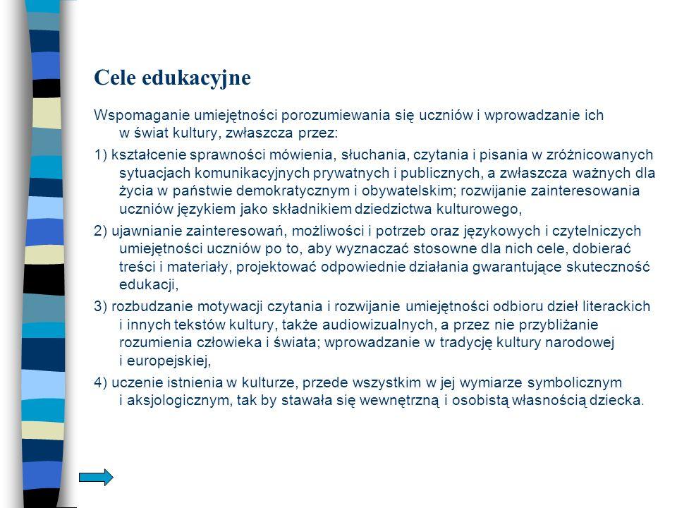 Zadania szkoły 1.Wychowanie językowe i rozbudzanie wrażliwości estetycznej.