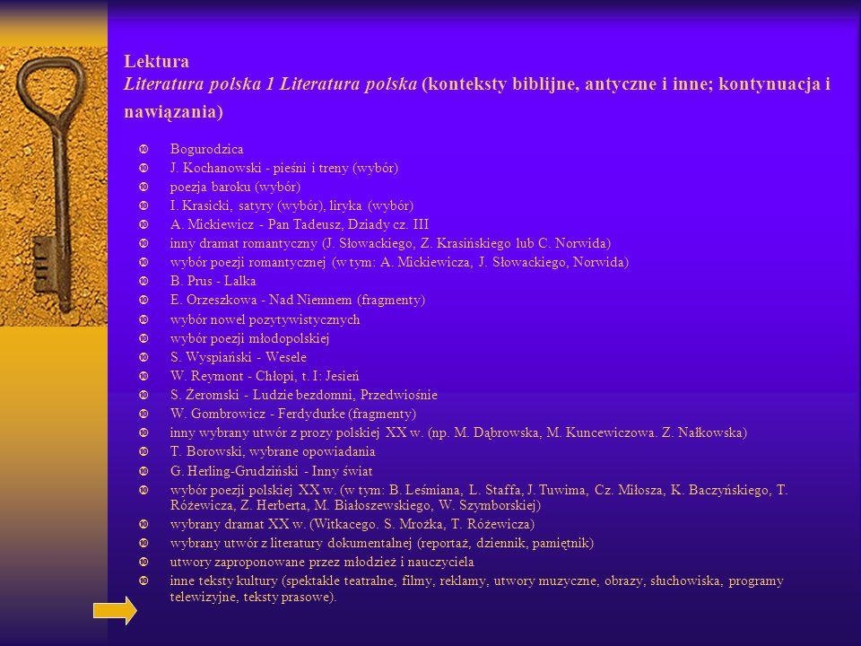 Lektura Literatura polska 1 Literatura polska (konteksty biblijne, antyczne i inne; kontynuacja i nawiązania) Bogurodzica J.
