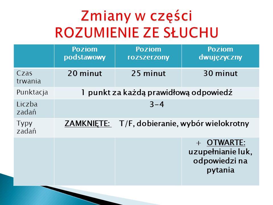 Poziom podstawowy Poziom rozszerzony Poziom dwujęzyczny Czas trwania 20 minut25 minut30 minut Punktacja 1 punkt za każdą prawidłową odpowiedź Liczba z