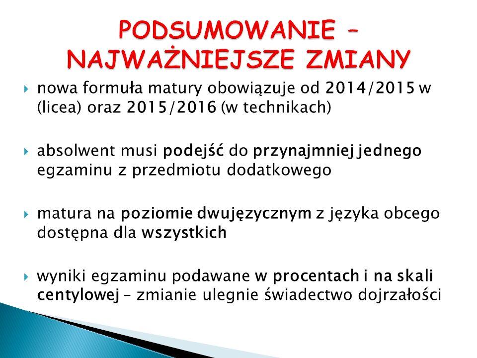 nowa formuła matury obowiązuje od 2014/2015 w (licea) oraz 2015/2016 (w technikach) absolwent musi podejść do przynajmniej jednego egzaminu z przedmio