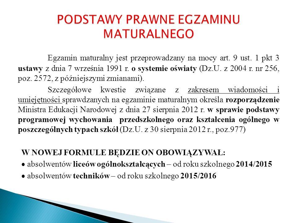 Egzamin maturalny jest przeprowadzany na mocy art. 9 ust. 1 pkt 3 ustawy z dnia 7 września 1991 r. o systemie oświaty (Dz.U. z 2004 r. nr 256, poz. 25
