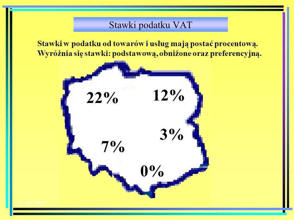 20.10.2003 Stawki podatku VAT 22% 7% 3% 0% 12% Stawki w podatku od towarów i usług mają postać procentową.